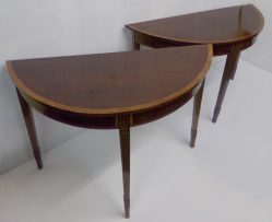 Pair Of Inlaid Mahogany Half Moon Tables €895