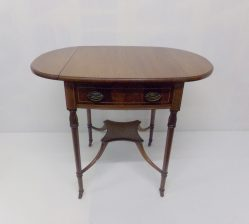 Edwardian Mahogany Inlaid Table With Drop Leaves
