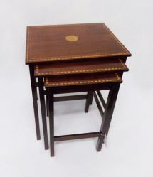 Edwardian Inlaid Mahogany Nest Of Three Tables €595