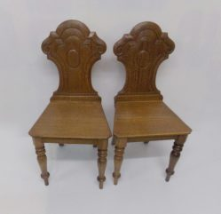 Pair Of Victorian Oak Hall Chairs €295
