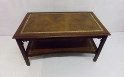 Mahogany Leather Topped Coffee Table €595