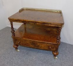 Victorian Burr Walnut Table with Drawer P.O.A