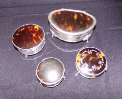 Selection Of Silver & Tortoise Shell Boxes €195