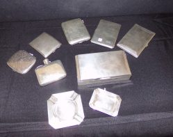 Selection Of Silver Cigarette Cases, Hip Flasks & Ashtrays from €75