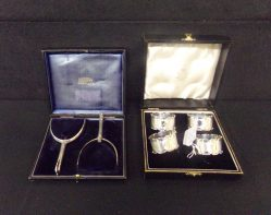 Pair Silver Plate Spurs, Set Of Four Napkin Rings